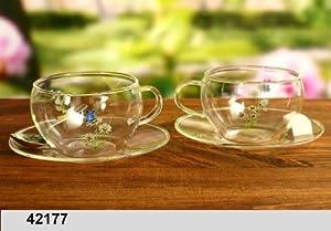 Teetasse mit Untertasse Glas Kräutermotiv 2er Set