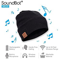 SoundBot SB210 Stereo Bluetooth 4.0 Wireless Musical Headset Beanie Headphone Hat for Music Streaming & Hands-Free Calling w/ 5hrs Music Playback, 8Hrs Talk Time, 60Hrs Standby Time, Built-in Mic & 33ft Range)