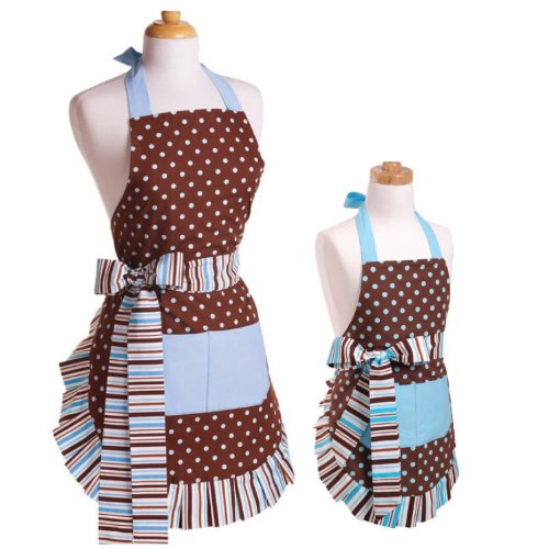 Flirty Aprons Bundle – 2 Items – Women's Blue Chocolate Apron & Girl's Blue Chocolate Apron