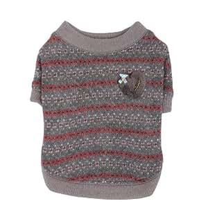 Pinkaholic New York Twilight Round Neck Dog Sweater, Large, Grey