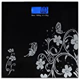 "EasierLife High Precision 400 Lbs Digital Bathroom Scale, w/ Ultra Sturdy Tempered Glass and Color LCD and ""Smart Step-on"" Technology, Black Fun Pattern"