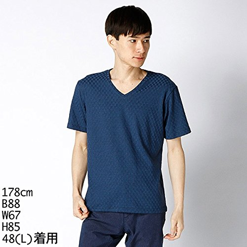 MKオム(MK homme) Tシャツ(グリットブロックジャカード半袖T)【ブルー/46(M)】
