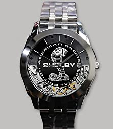 buy Custom Personality Ford Shelby American Racing Car Logo Wristwatch Silver Alloy Band