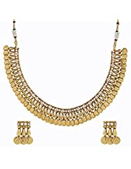 The Jewelbox Kundan Pearl Lakshmi Gold Coin Temple Antique Necklace Earring Set