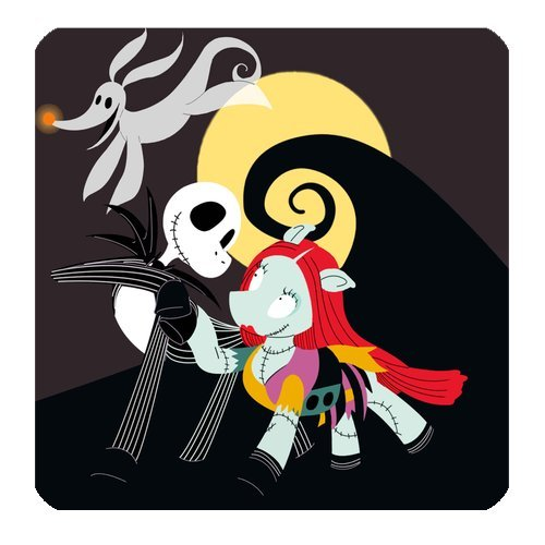 "Anhome Nightmare Before Christmas Cartoon Dog Skull And Moon Coasters 3.5""X 3.5"" front-1031369"