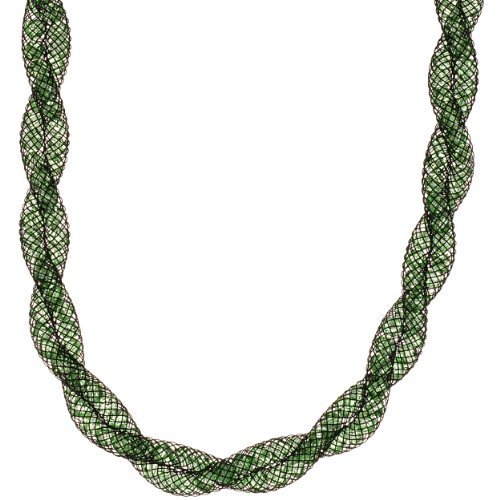 Green Crystal Twist Mesh Necklace with Stainless Steel Clasp, 16