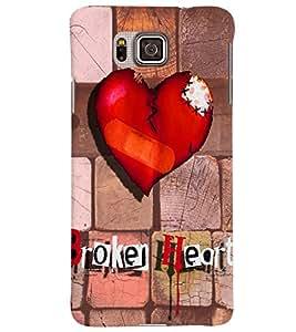 PrintVisa Romantic Love Broken Heart 3D Hard Polycarbonate Designer Back Case Cover for Samsung Galaxy Alpha