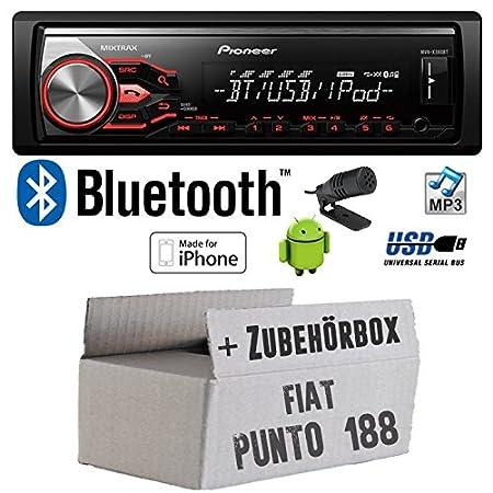 Fiat Punto 188 - Pioneer MVH-X380BT - MP3/USB Bluetooth Autoradio - Einbauset