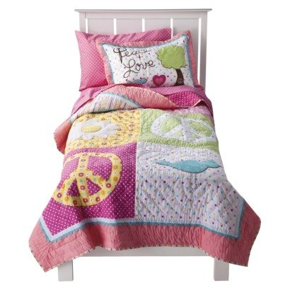 Circo® Peace Girl Twin Quilt & Sham Set - Pink front-63294