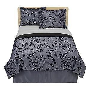 Modern Home Flocked Leaf Comforter Set - Black/ Charcoal