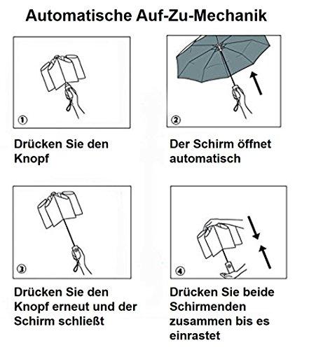 Regenschirm Taschenschirm | VAN BEEKEN - windsicher bis 140 km/h, wasserabweisende Teflon-Beschichtung, klein, leicht & kompakt - stabiler Schirm mit voll-automatischer Auf-Zu-Automatik, schwarz 95 cm -