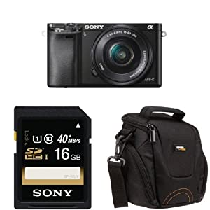 Sony Alpha a6000 with 16-50mm Lens (Black) + Free Accessories