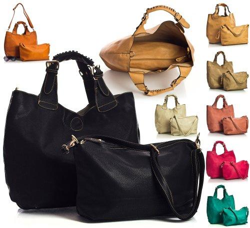 Big Handbag Shop Womens Designer Fashion Top Handle Snug Fit Shoulder Tote Two in One Bag in Handbag