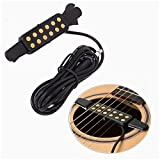Luvay Guitar Pickup Acoustic Electric Transducer for Acoustic Guitar, Cable Length 10' (Gold)