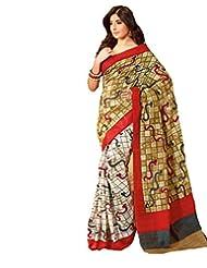 Inddus Exclusive Women Art Silk Printed White Saree - B00NGDX7EY