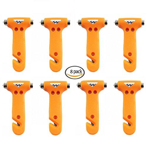 Flesser Car Escape Tool Emergency Hammer Seatbelt Cutter Window Breaker Emergency Hammer For Car (Yellow 8 Pcs)