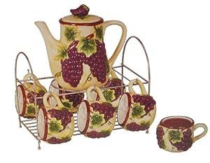 Tuscany Grape Kitchen Wine Decor Tea Set W