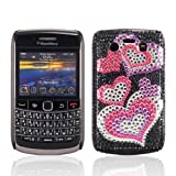 Samrick Love Hearts Handmade Crystal Gemstone Rhinestone Bling Diamante Protective Case for Blackberry 9700 Bold/9780 Bold - Pink/Purple/Black/Silver