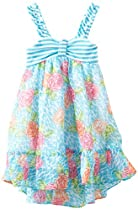 Rare Editions Girls 2-6X Floral Print Chiffon Dress, Multi, 2T