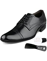 Escaro Men's Formal Genuine Leather Quarter Brogue Cap Toe Oxford Dress Lace Up Shoes