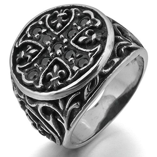 INBLUE Men's Stainless Steel Ring CZ Silver Tone Black Knight Fleur De Lis Cross Size12 (Men Fleur De Lis Ring compare prices)