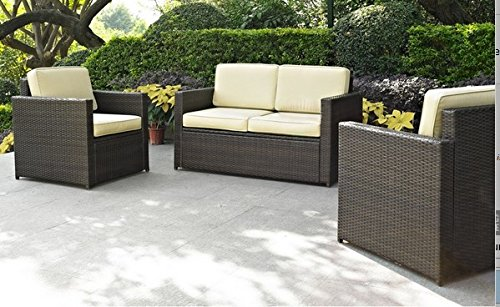 Palm Harbor 3 Piece Outdoor Wicker Seating Set - Loveseat & Two Outdoor Chairs image