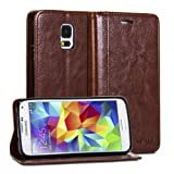 Galaxy S5 Case, GMYLE Wallet Case Simple for Samsung Galaxy S5 - Brown Crazy Horse Pattern PU Leather Protective Flip Folio Slim Fit Wallet Stand Case Cover (with Card Slots and Money Pocket)