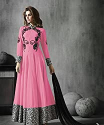 Pink Georgette Embroidered Anarkali Suits By Kmozi