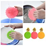 Kemuse Antibacterial Silicone Dish Scrubber Washing Brush, Multi-purpose Cleaning For Fruit Washer / Vegetable Cleaner / Heat-resistant Mat / Gloves 3 Pack