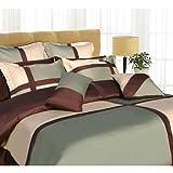 "Tribeca Living ""Dreams"" 8-Piece Cotton Comforter Set Chocolate & Sage King  ...."