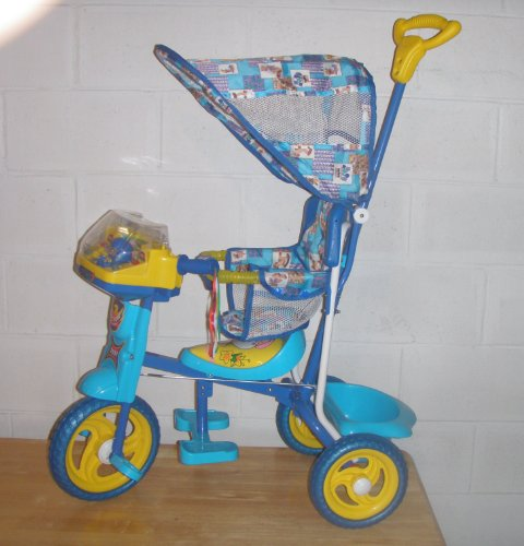 Blue Childrens Tricycle w/ Cabana Style Top Cover and Removable Infant Compatible Seat