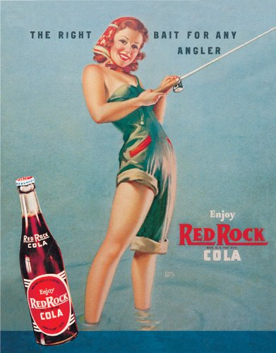 Tin Sign Red Rock Girl Fishing