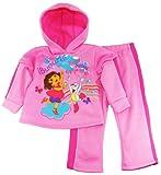 Dora The Explorer Girls Warm Fleece Hooded Jacket and Pants Set 2Pc