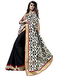 Blissta White & Black Jacquard & Georgette Half & Half Saree