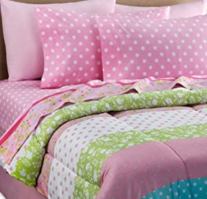 Amazon.com - Pink, White & Green Polka Dot Girls Twin ...