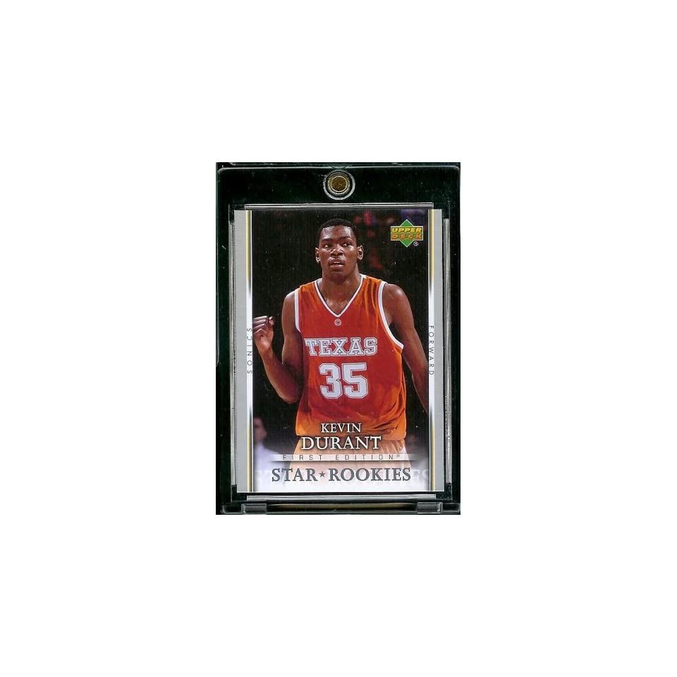 2007 08 Upper Deck First Edition # 202 Kevin Durant RC   NBA Basketball ROOKIE Trading Card in a Protective Display Case