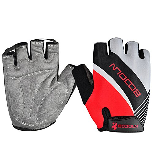Ezyoutdoor Unisex Anti-slip Shock-absorbing Gel Pad Breathable Half Finger Gloves for Cycling Hunting Cycling Motorcycle (Red, Large)