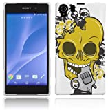 Sony Xperia Z2 Case - White, Yellow & Black Hard Plastic (PC) Cover with Yellow Skull Design