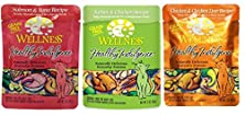 buy Wellness Healthy Indulgence Grain Free Naturally Delicious Everyday Entrees For Cats 3 Flavor Variety 6 Pouch Bundle: (2) Chicken & Chicken Liver Recipe In A Rich Gravy, (2) Turkey & Chicken Recipe In A Sumptuous Gravy, And (2) Salmon & Tuna Recipe In A S