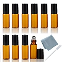 ELFENSTALL 10pcs 5ml(1/6oz) Roll on Glass Bottle for Essential Oil - Empty Aromatherapy Perfume Bottles - Refillable Slim with Metal Ball and Black Lid Amber + FREE Dropper