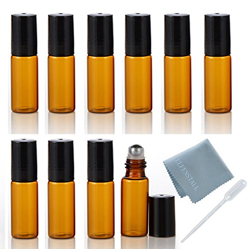 ELFENSTALL 10pcs 5ml(1/6oz) Roll on Glass Bottle for Essential Oil - Empty Aromatherapy Perfume Bottles - Refillable Slim with Metal Ball and Black Lid Amber + FREE Dropper (5ml Glass Roller Bottles compare prices)