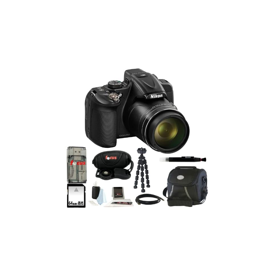 Nikon COOLPIX P600 Digital Camera (Black) + 64GB Memory Card + Vivitar Coco Series Small Gadget Camera Bag   Polyester + All in One High Speed Card Reader + Accessory Kit