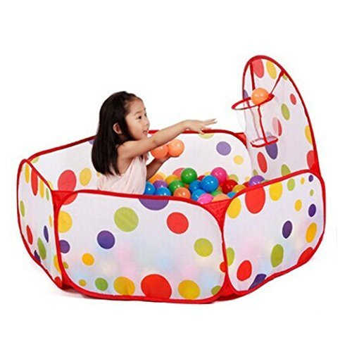 Play-Tent-with-Basketball-Hoop-12m-Hexagon-Polka-Dot-Kids-Ball-pit-Play-Pool-Tent-Carry-Tote-Indoor-and-Outdoor-toy-basket-by-lanlan