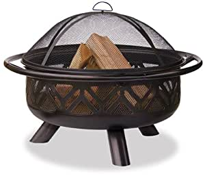Uniflame WAD1009SP Oil Rubbed Outdoor Firebowl with Geometric Design (Discontinued by Manufacturer)