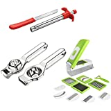 Angel Kitechen Tools Combo Of 10 In 1 Vegetable Slicer And Dicer Grater | Stainless Steel Lemon Squeezer | Gas Lighter + Knife Free (Buy One Get Two Free) [SK - 1001]