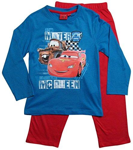 Disney Cars 2 Kollektion 2016 Schlafanzug 92 98 104 110 116 122 128 Jungen Pyjama Neu Lang Lightning McQueen (98 - 104, Blau-Rot)