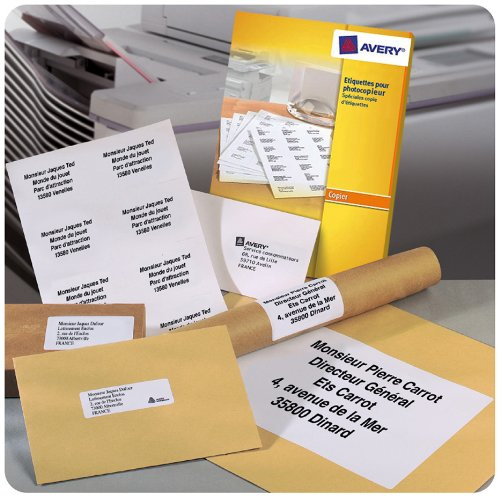 AVERY - DP001-100 - 100 étiquettes adhésives blanches multi usages. 210x297mm. Impression copieur