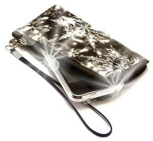 """""""Secreto"""" Negro, Lujosa billetera acolchado con cierre, acabado brillante para Samsung C3322. Auténtica Funda / Estuche con correa para transportar para teléfonos móviles."""