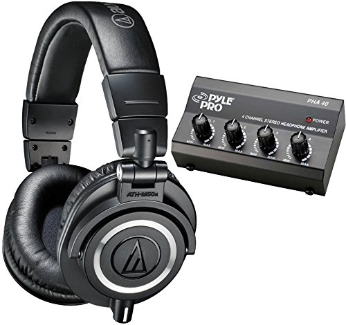Audio-Technica Ath-M50X Closed Back Monitor Headphones W/ Headphone Amp