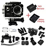 Ultra 4K Wifi Waterproof Action Camera F60 Sport Extreme Mini Helmet Cam Recorder Marine Diving 2.0 Lcd 170 Degree Wide Lens With Two Batteries - Black